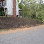 Topsoil, seeding and matting